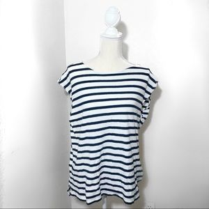 J Crew White and Navy Striped 100% Cotton Shirt